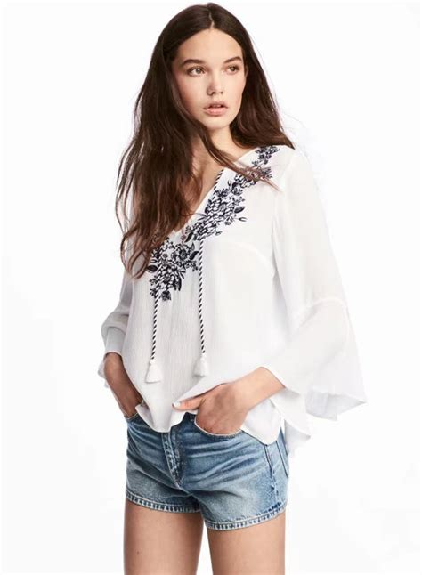 Flare Sleeve Blouse v neck floral embroidery flare sleeve blouse oasap