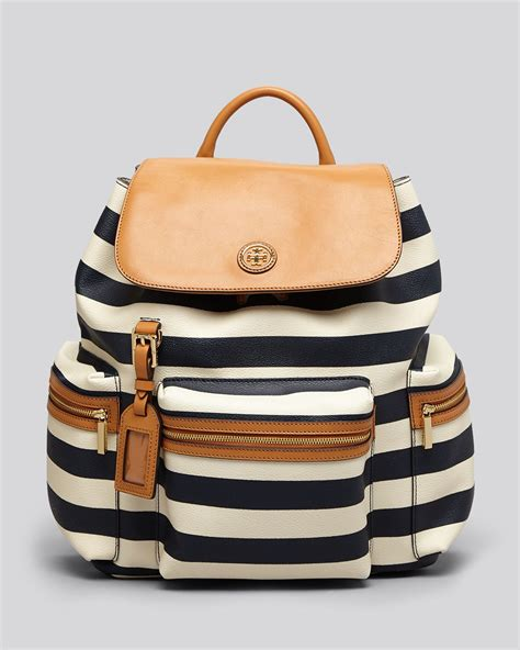 Awning Skirts Tory Burch Backpack Kerrington Striped In Brown Lyst