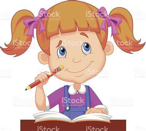 imagenes escolares animadas niña estudiando ni 241 a ni 241 o de historieta estudiando illustracion libre de