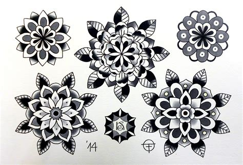 traditional mandala tattoo traditional flower black search