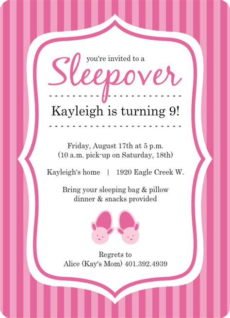 sleepover birthday invitations template best template