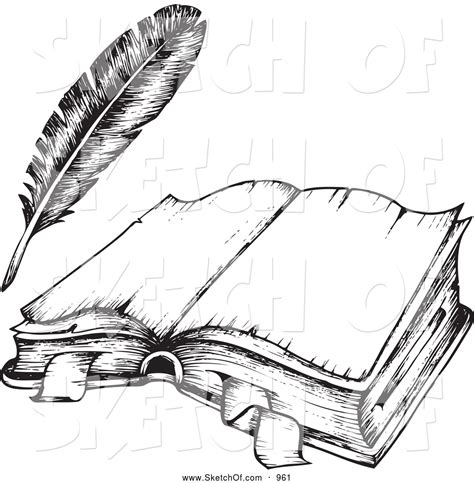 open sketch drawing of a black and white open book and feather quill