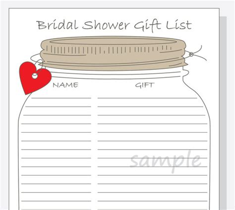 printable bridal shower list bridal shower gift list printable diy mason jar design with