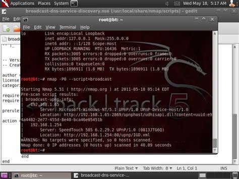 nmap tutorial backtrack 5 insidetrust com nmap nse broadcast scanning in backtrack 5