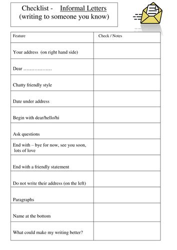 letter writing template y2 informal letter checklist by nm74 teaching resources tes
