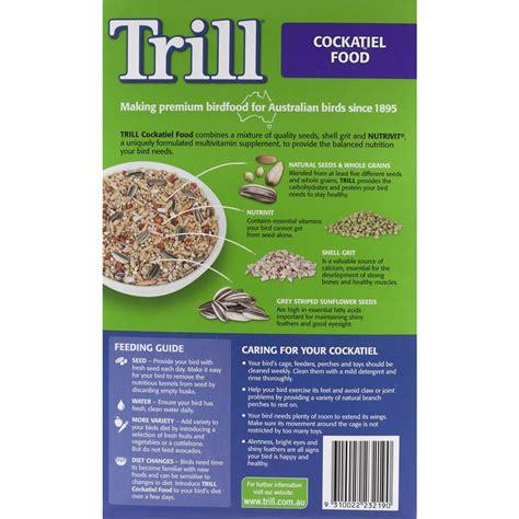 trill bird seed trill bird food cockatiel 2kg woolworths