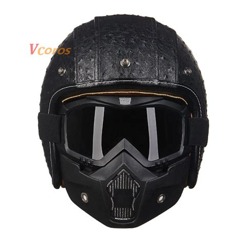 Helm Retro Leather Black popular leather scooter helmet buy cheap leather scooter