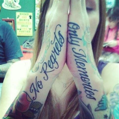 tattoo on hand quotes quot no regrets only memories quot tattoo quote hand tattoos