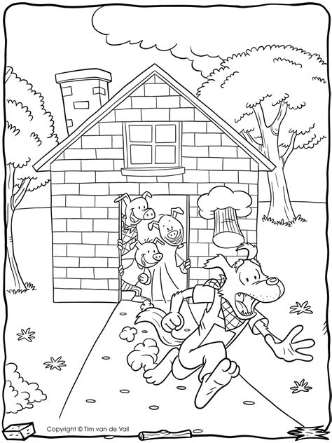 Coloring Page 3 Pigs by Three Pigs Wolf Running Coloring Page Tim S