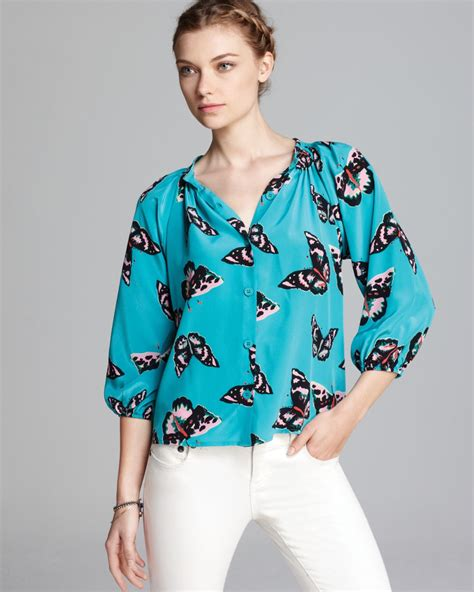 Butterfly Fashion Blouse Import tucker quotation blouse classic butterfly print silk in gray magic elephant castle lyst