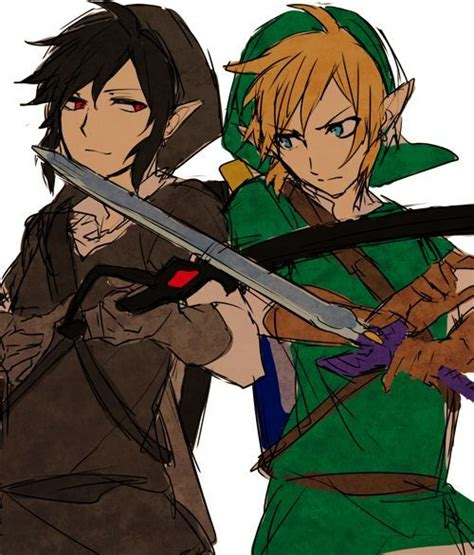 zelda link with black hair dark link vs link zelda amino