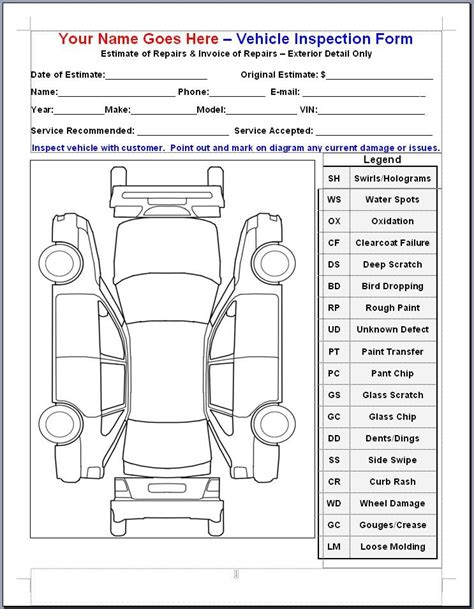vehicle inspection sheet new calendar template site