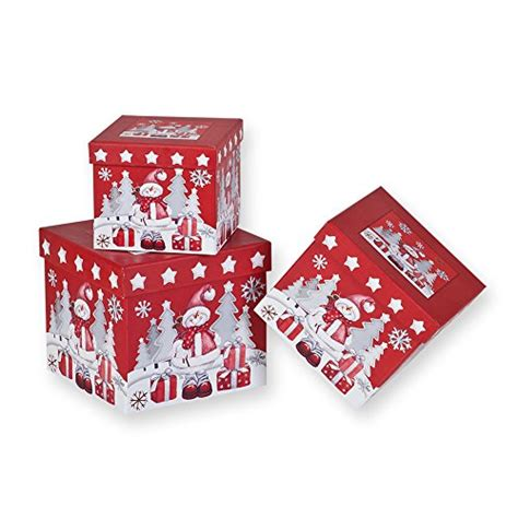 3 piece christmas nesting gift boxes red background with