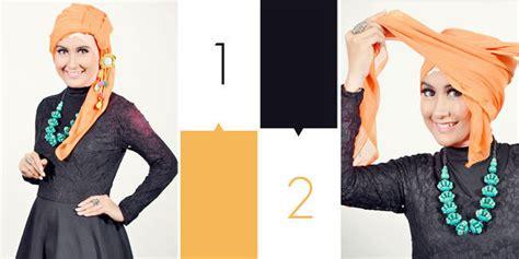 tutorial jilbab gaya turban fashion gaya turban dengan jilbab segi empat vemale com