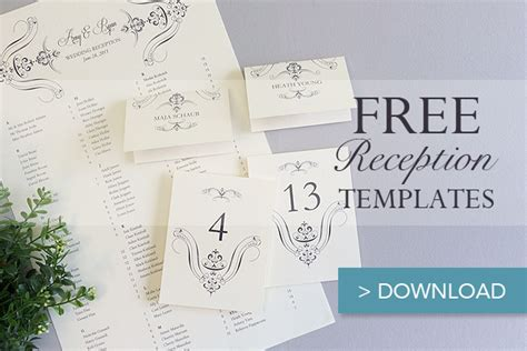 free diy place card template free printable wedding reception templates free