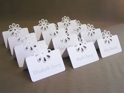 Blank Flower Wedding Placecard Tent Place Cards Bridal Baby Shower Rehearsal Dinner Seating Bridal Shower Place Cards Templates