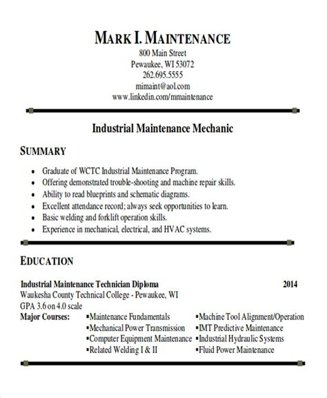 Maintenance Resume Template by 9 Sle Maintenance Technician Resumes Sle Templates