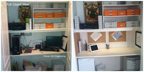 holly s closet home office makeover before after before and after home office in a closet revisited