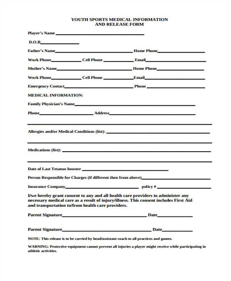 24 Medical Release Form Templates Sports Waiver Template