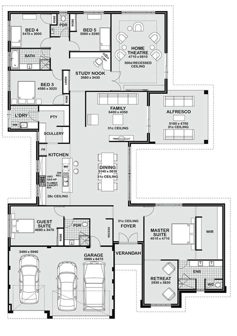 house plans with big bedrooms floor plan friday 5 bedroom entertainer