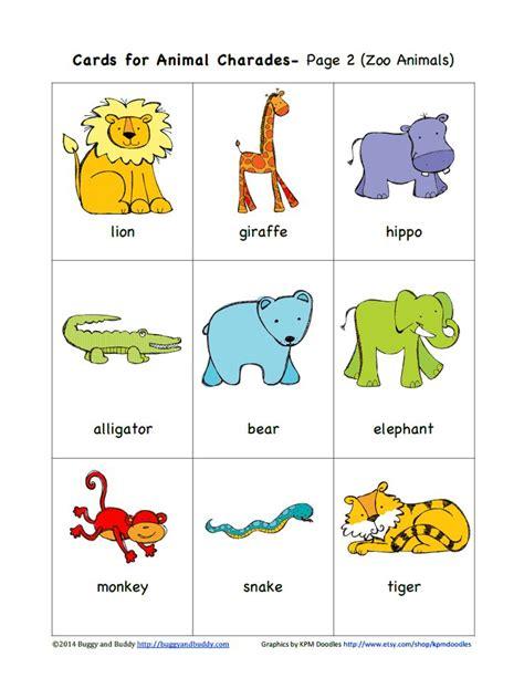printable animal charades cards sempre crian 231 a http buggyandbuddy com animal charades