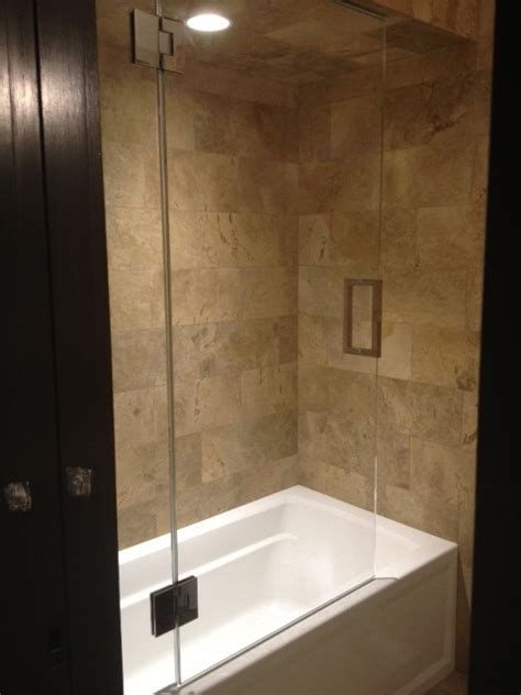Bathroom Shower Doors Frameless Frameless Shower Door With Splash Panel For Tub Traditional Shower Doors New York By Atm
