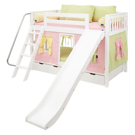 bunk bed with slide and tent laugh girl twin over twin slat slide tent bunk bed kids