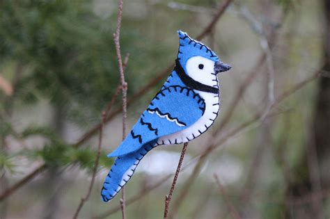 blue jay pattern bold blue jay felt ornament downeast thunder farm