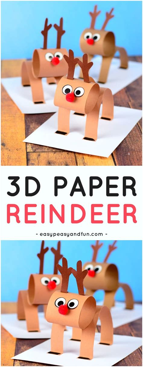 3d Construction Paper Crafts - 3d construction paper reindeer easy peasy and