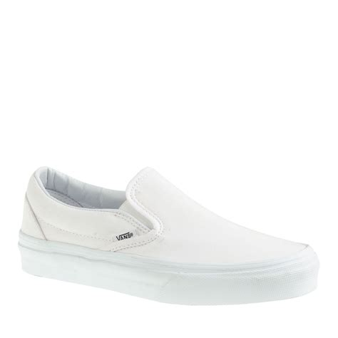 j crew vans solid canvas classic slip on sneakers in white