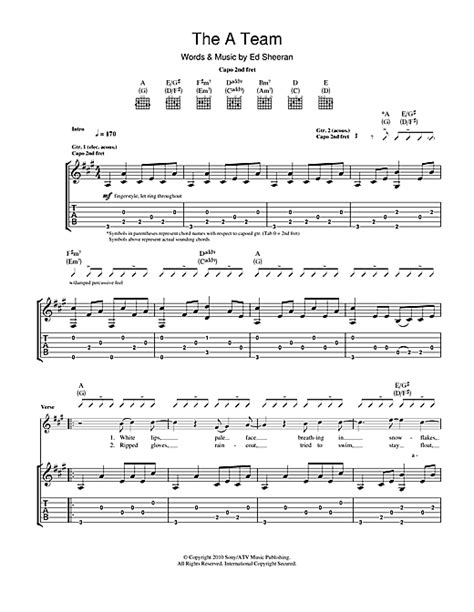 ed sheeran chords a team the a team guitar tab by ed sheeran guitar tab 114731
