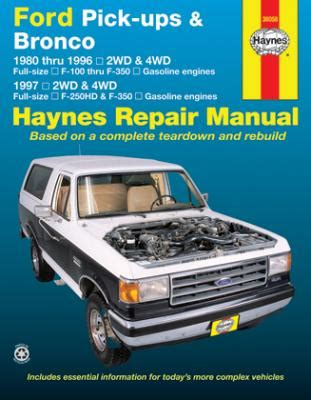 1980 1996 ford f100 f350 bronco 1997 f250hd f350 gas haynes manual