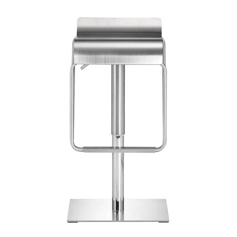 Brushed Stainless Steel Counter Stools by Zuo Dazzer Adjustable Height Brushed Stainless Steel Bar