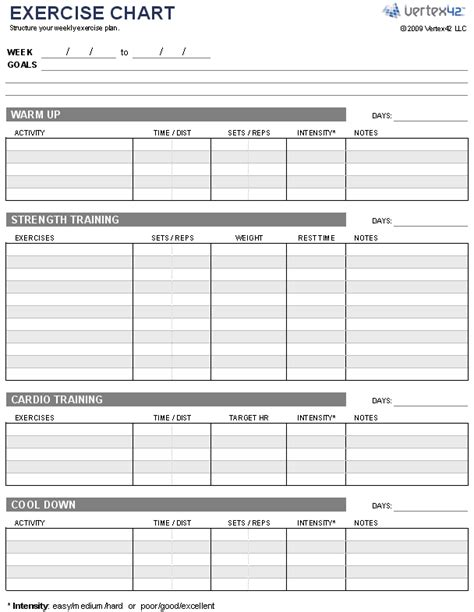 fitness plan template weekly free exercise chart printable exercise chart template