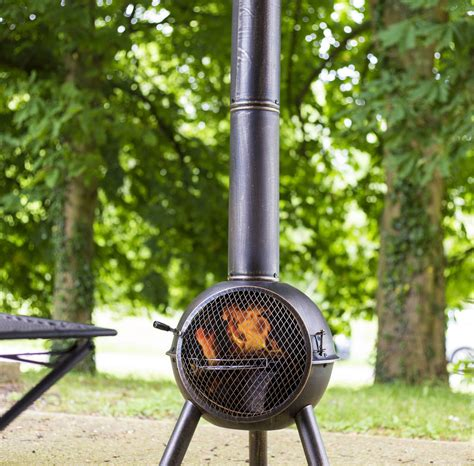 chiminea grill large chiminea with cooking grill by garden leisure