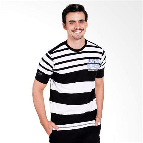 T Shirt Motif Garis jual lgs slim fit motif garis kaos pria black white jts