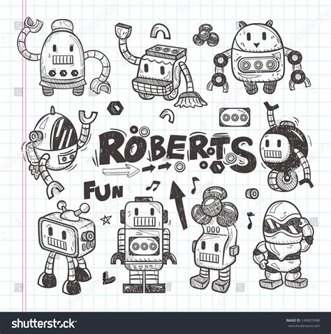 doodle drawing tools set doodle robot icons illustrator line stock vector