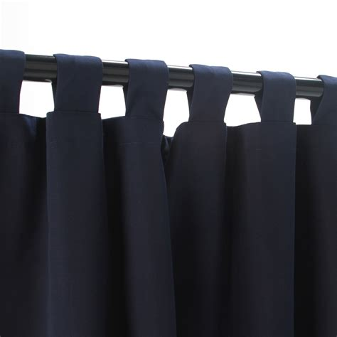 Navy Tabbed Sunbrella Outdoor Curtains