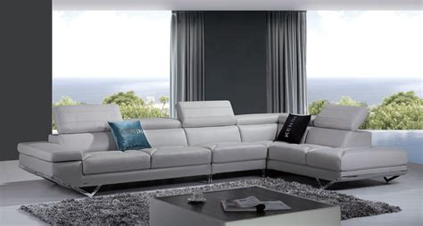 Light Gray Sectional Sofa by Divani Casa Modern Light Grey Italian Leather