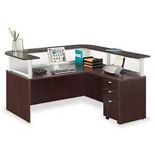 Mobile Reception Desk L Shaped Reception Desk With Mobile Pedestal Ebay