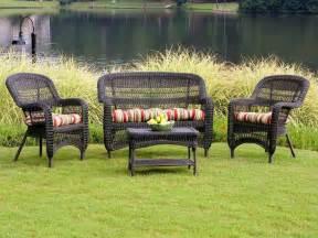 Wicker Patio Furniture Set Tortuga Portside Roast Wicker Conversation Set Ps4s Darkroast