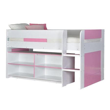 Lollipop Mid Sleeper Pink by Yoyo Mid Sleeper Bed In White Pink With Shelving