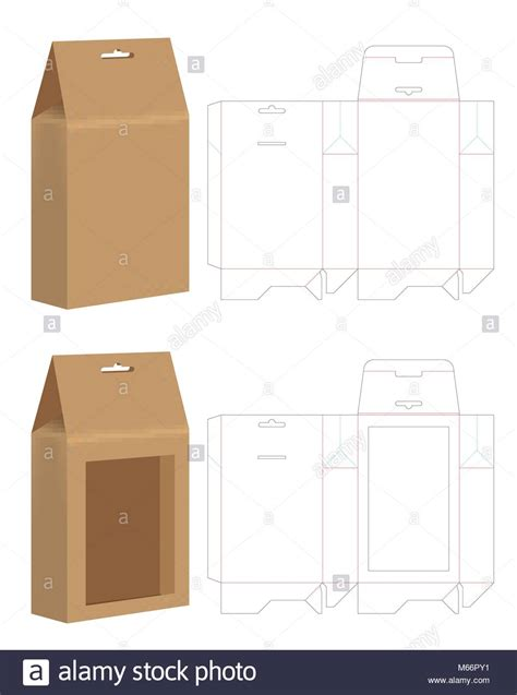 Paper Bag Die Cut Mock Up Template Vector Stock Vector Art Illustration Vector Image Paper Bag Die Cut Template
