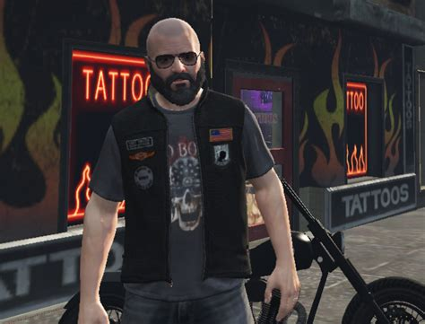 Tshirt Skrillex Iv leather motorcycle vest for michael gta5 mods