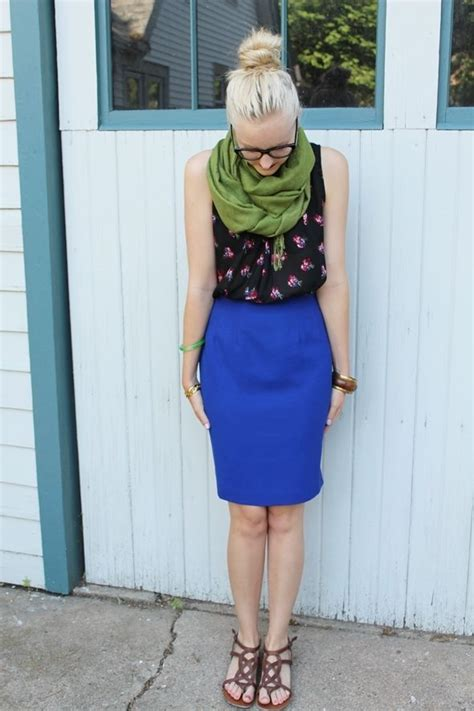 cobalt blue pencil skirt fashion