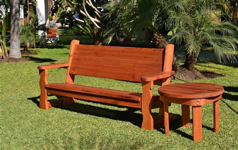redwood bench rustic wood bench with back for garden seating forever