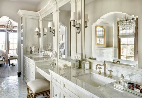 french white bath vanity cabinets  mirrored accents