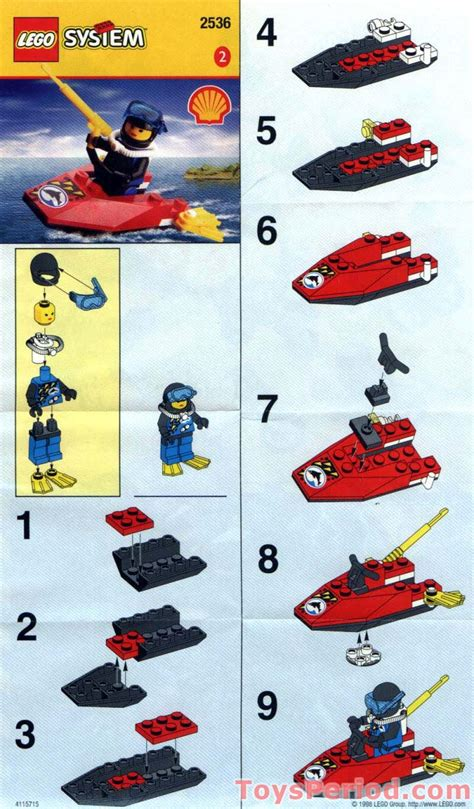 jetski 2e hands lego 2536 shell promotional set divers jet ski set parts
