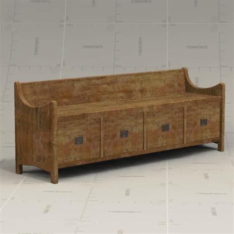 pottery barn bench seat pottery barn wade bench 3d model formfonts 3d models