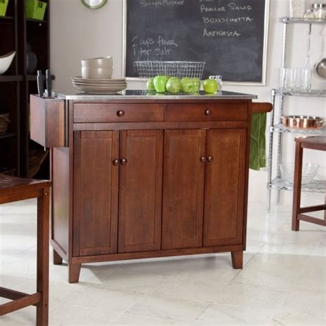 the espresso stationary kitchen cart with optional stools